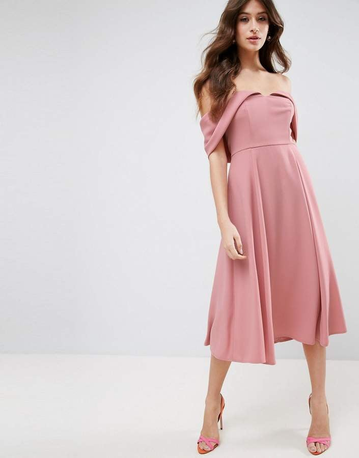 Asos Bardot Fold Over Midi Prom Dress Wedding Guest Dresses For