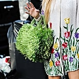 A green Prada raffia bag and a sequined tulip print are the ultimate calls to Spring.