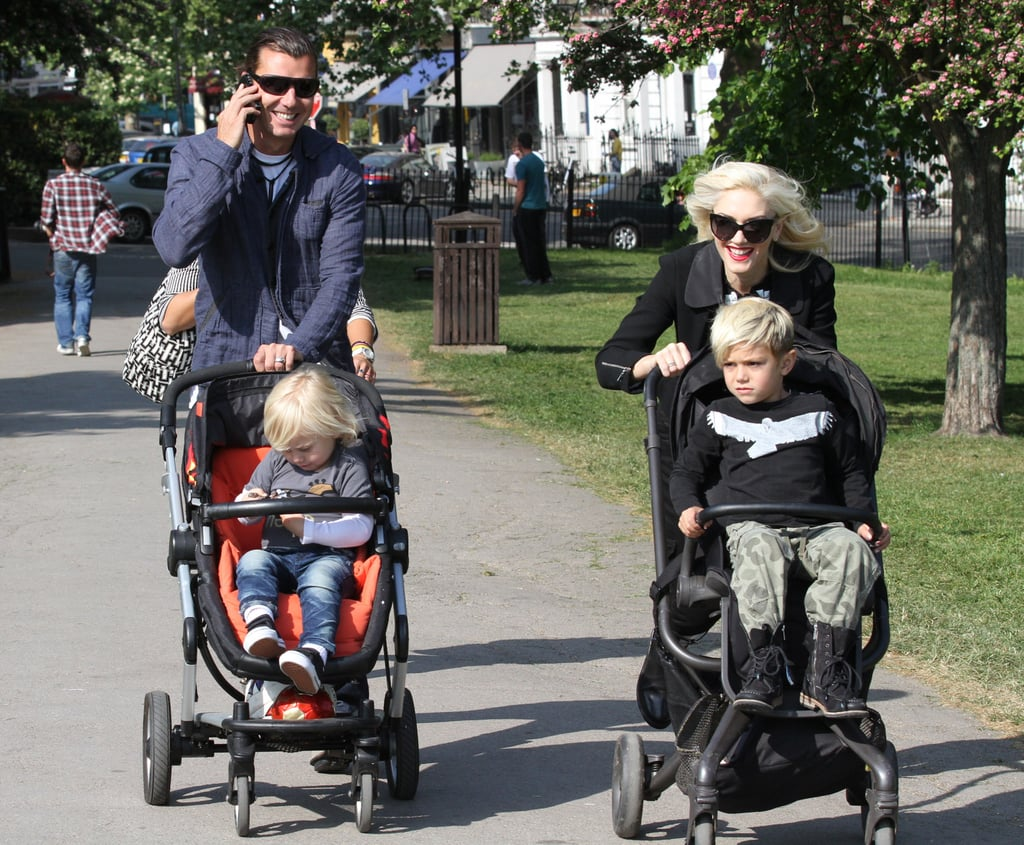 Gwen Stefani and Gavin Rossdale pushed Kingston and Zuma along in their matching strollers this morning while at Primrose Hill in London. The foursome explored together for the second day in a row, enjoying the scenic park views and enjoying the Spring weather. Gwen and Gavin missed out on Monday's annual Met Gala, though last year she was among the best dressed in one of her own L.A.M.B. designs. Mother's Day is right around the corner for the Stefani-Rossdale family, and Gavin and the boys have a big feat to pull off if they're going to top the special Sunday brunch they prepared for her last year. Gwen's holding tightly to one of the top positions on the PopSugar 100 list.