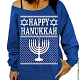"""Happy Hanukkah"" Ugly Off-the-Shoulder Sweater"