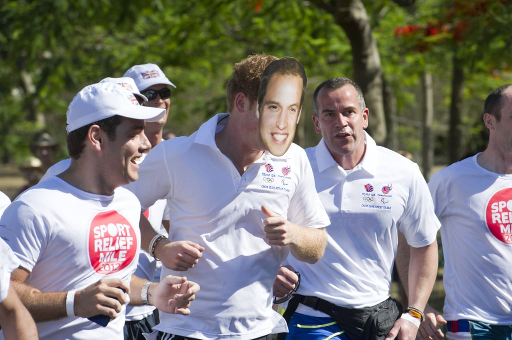 Prince Harry ran a mile for charity wearing a mask of his brother.