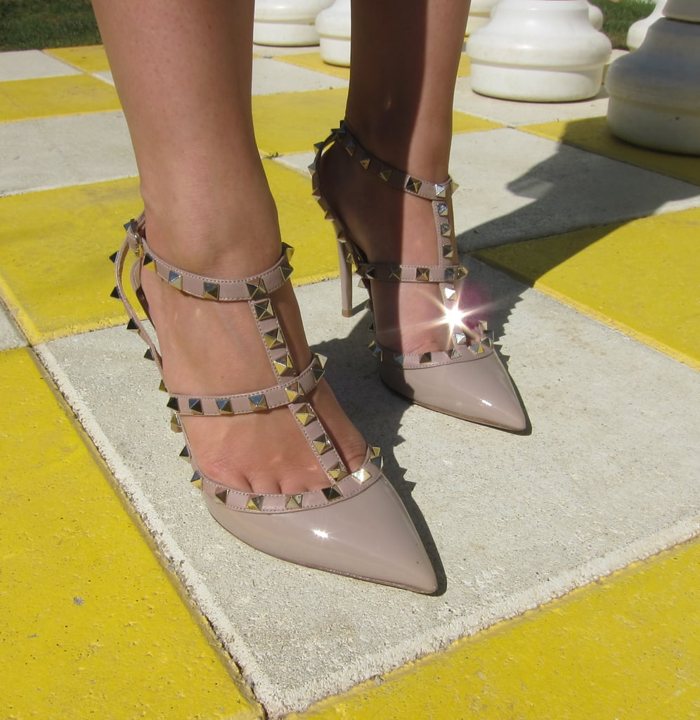The iconic metal studs and patent leather finish of these Valentino pumps were showstoppers at a poolside luncheon.