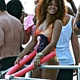 Rihanna wore a Bob Marley swimsuit while partying on a boat in Barbados in August 2011.