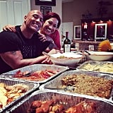 Dwayne Johnson and his mom posed for a sweet snap before eating dinner.