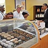 Buying some doughnuts in 2012.