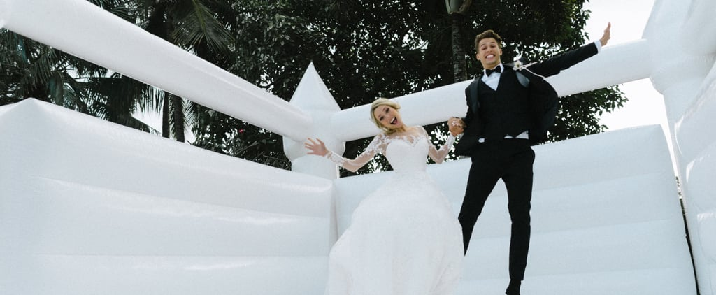 Couple Takes Wedding Photos in Bouncy Castle