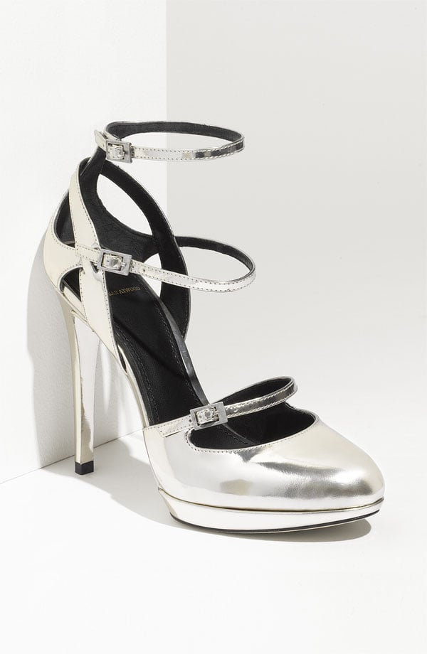 These Mary Jane platform pumps come in a slick metallic hue and sassy triple-strap detailing.  B Brian Atwood 'Fineday' High Heel ($375)
