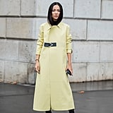 Even the colour-averse can get behind a butter-yellow look, made more seasoally-appropriate for winter in the form of a longline duster coat.