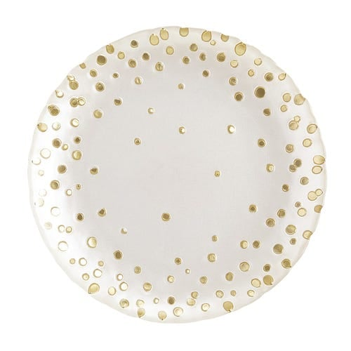 Pearl & Gold Dot Salad Plate