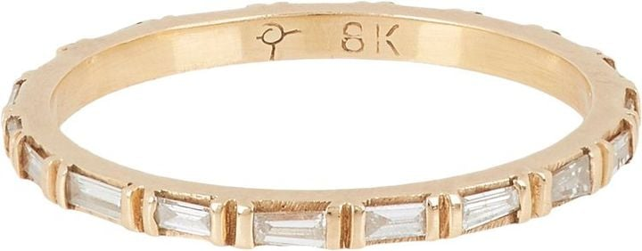 Zoe Diamond Baguette & Rose Gold Eternity Band-Colorless ($4,440)