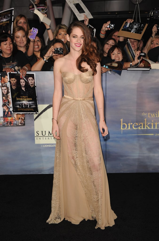 Kristen opted out of the thigh-high slit look, but still managed to show off her legs via ultrasheer paneling on this Zuhair Murad gown.