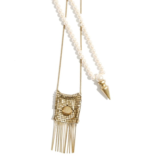 Pearl Cone Necklace, $150;  Fringed Mesh Pocket Necklace, $175