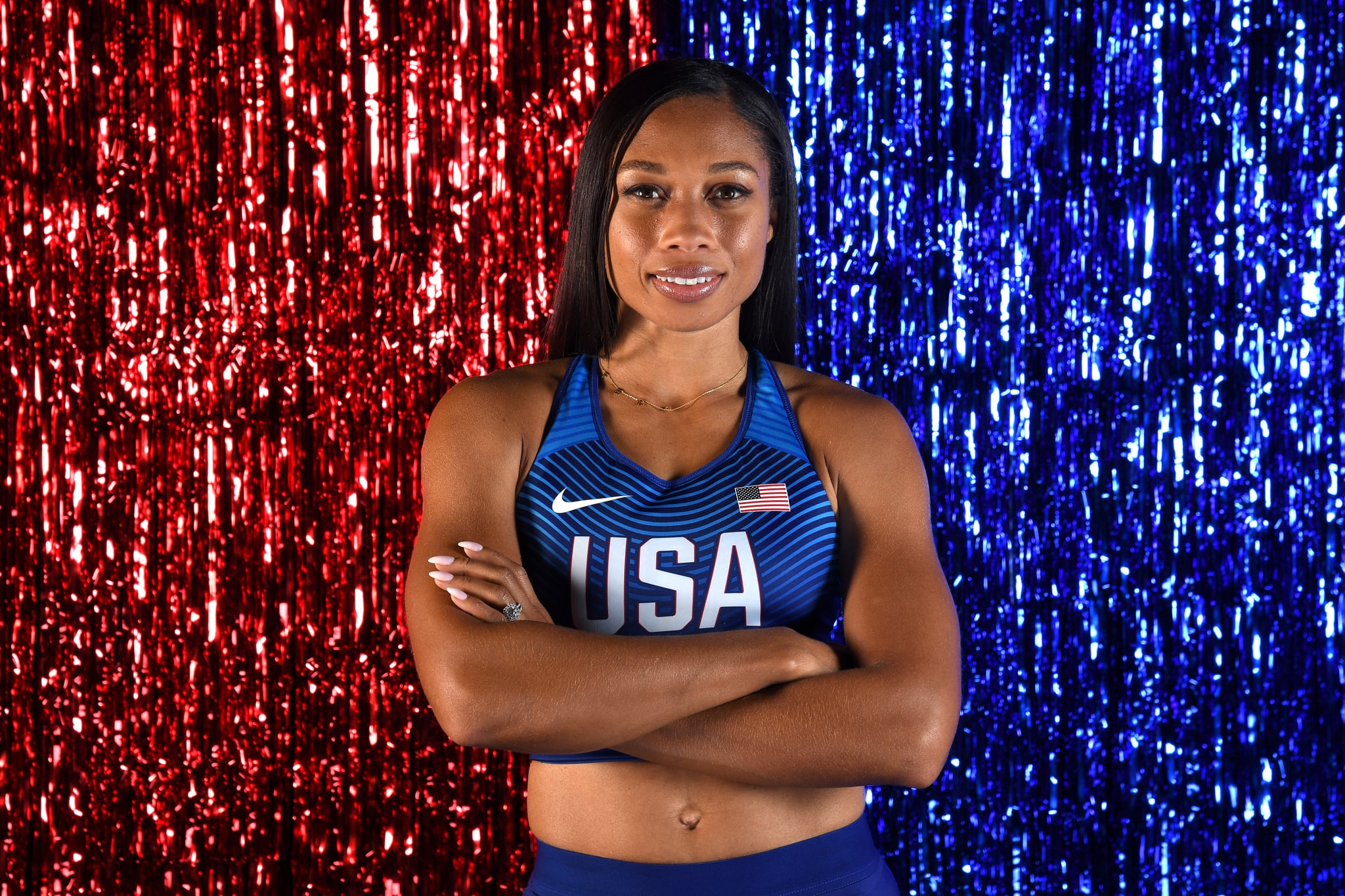 WEST HOLLYWOOD, CALIFORNIA - NOVEMBER 19: Track & field athlete Allyson Felix poses for a portrait during the Team USA Tokyo 2020 Olympics shoot on November 19, 2019 in West Hollywood, California. (Photo by Harry How/Getty Images)