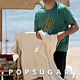 James Marsden wore a green shirt and a cap on the beach in Hawaii.