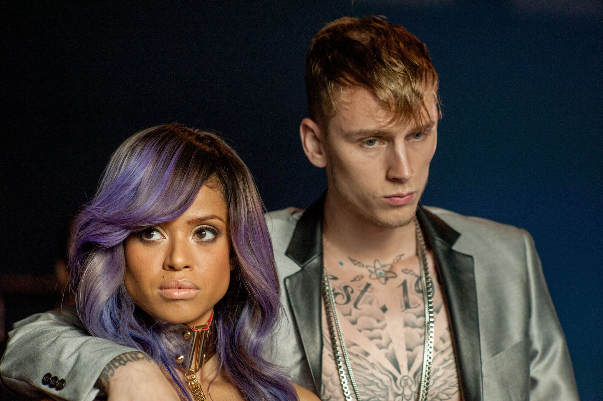 BEYOND THE LIGHTS, from left: Gug Mbatha-Raw, Richard Colson Baker (aka Machine Gun Kelly), 2014. ph: Suzanne Tenner/Relativity Media/courtesy Everett Collection
