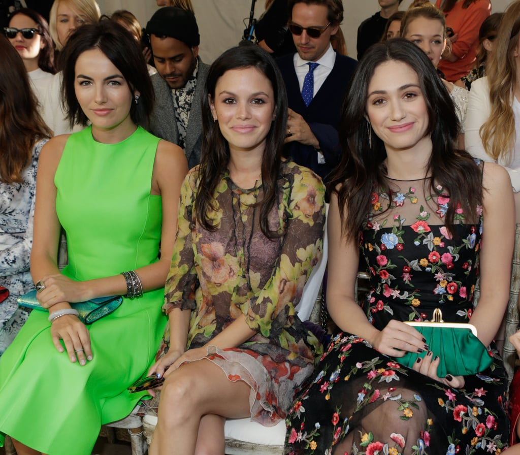 Camilla Belle, Rachel Bilson, and Emmy Rossum were all sitting pretty and sporting similar looks: mussy brunette locks, bold brows, and a pop of pink on their lips. To get Emmy's look, follow these tips from hairstylist Richard Collins:  Blow-dry hair with Pantene All-in-One Styling Balm ($6). Curl the middle sections of hair using Serge Normant Hair Spray ($25), leaving the ends straight. Set with hair spray to finish.