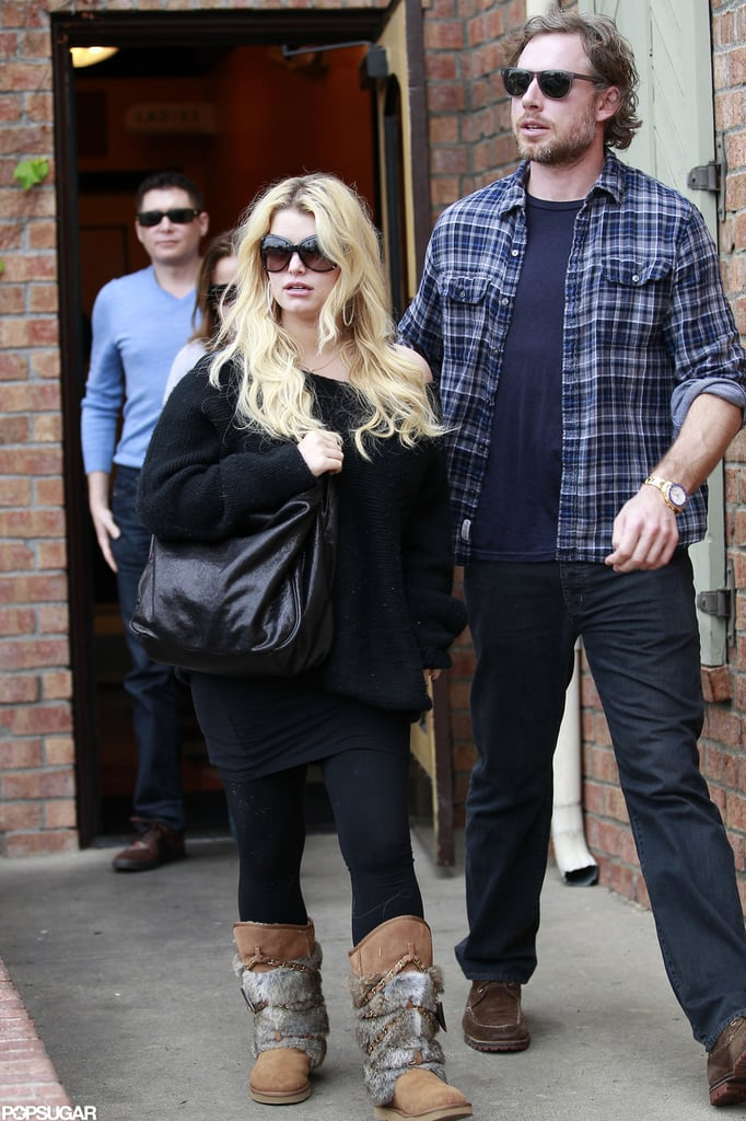 Jessica Simpson and her fiancé Eric Johnson had a lunch date at Kings Fish House in LA yesterday. She stuck to a dark palette, wearing all black for the meal. She's been keeping a low profile in recent weeks since pregnancy rumors began circulating late last month, though she did join friends for a game of cards this week. Jessica has not confirmed or denied the pregnancy reports. However, Jessica was spotted looking at new homes with Eric, leading some to believe they're looking for a bigger home for an expanding family. Their seven-month-old daughter Maxwell Johnson's birth made our list of the biggest headlines of 2012 — where do you think her arrival ranks? We'll have to wait and see if Jessica plans on surprising us again in 2013.
