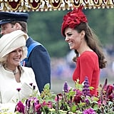 Kate Middleton laughed with Camilla, Duchess of Cornwall, at the Thames Diamond Jubilee Pageant.