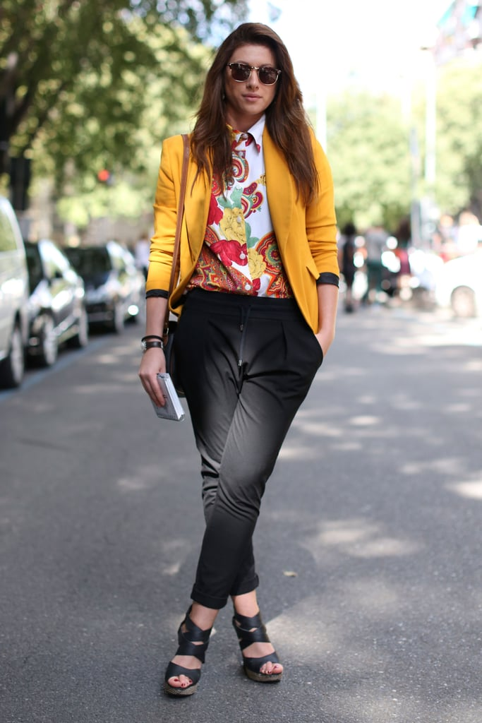 Florals and brights gave these classic black trousers a brilliant update.