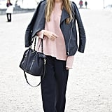 Pastel pink lends a pretty edge to black separates.