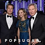 Brad Pitt posed with Harrison Ford and Calista Flockhart.