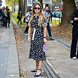 Polka Dots Look Most Sophisticated in the Form of a Belted Shirt Dress