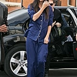 It was far from bedtime for Selena Gomez in Paris. She stepped out in a navy Derek Rose pajama set and added a pop of color with her Brian Atwood strappy sandals.