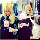 Rachel Zoe had a hand in feeding baby Kaius when big brother Skyler visited at work. Source: Instagram user rachelzoe