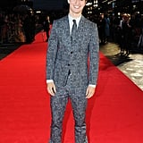 Ansel Elgort turned heads in a black and white suit at the premiere of Men, Women & Children in London on Thursday.
