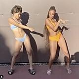 Storm Reid Wearing a Light Blue Frankies Bikinis Swimsuit