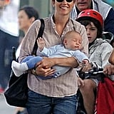 Jennifer Connelly smiled while holding Agnes Bettany.