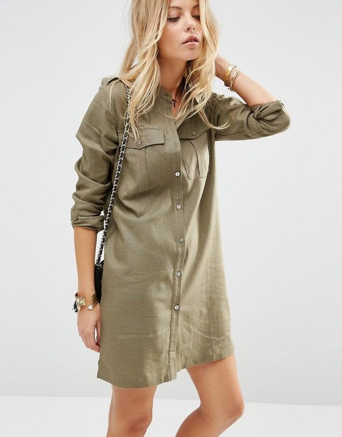 The Dress: ASOS Linen Military Shirt Dress ($57)  The Costume: An Army girl or a safari tour guide.