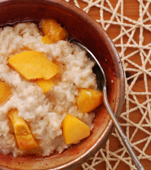 Maple Walnut Oatmeal With Peaches