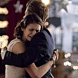 Nina Dobrev as Elena and Paul Wesley as Stefan on The Vampire Diaries.