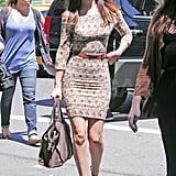 Leighton Meester arrived at the Monte Carlo press junket in NYC.