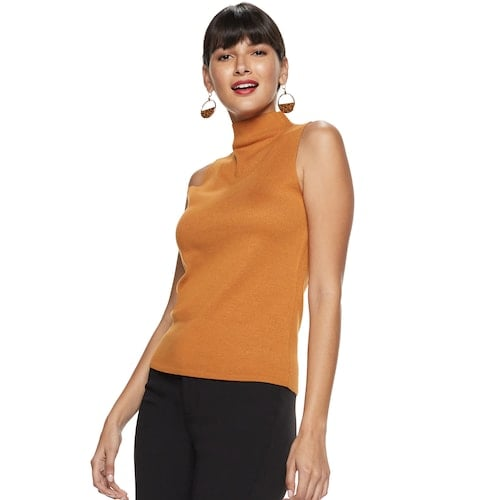 Nine West Mockneck Sleeveless Sweater