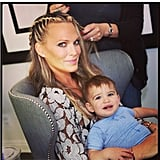 Molly Sims had little Brooks to keep her company during a hair-braiding session. Source: Instagram user MollyBSims