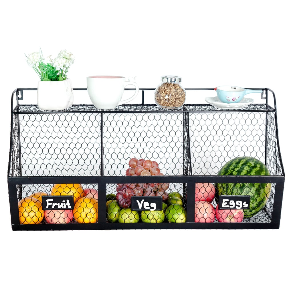 3-Compartment Wall Mount Metal Storage Basket
