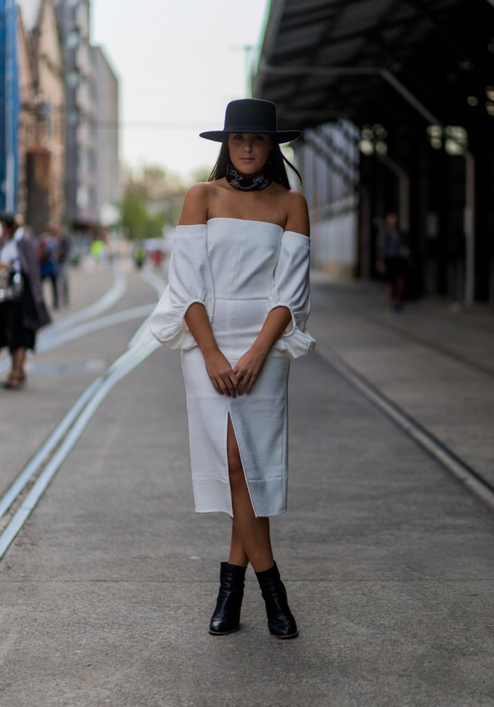 Get Western in Your Off-the-Shoulder Dress by Adding a Wide-Brim Hat and Bandana