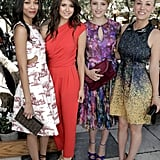 Zoe Saldana, Nina Dobrev, Dianna Agron, and Kaley Cuoco all smiled for a photo together.