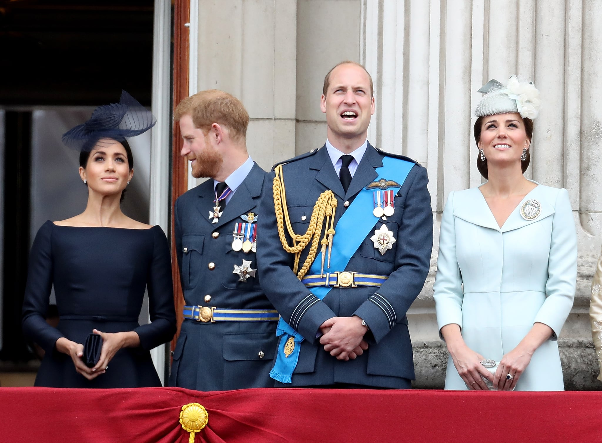 LONDON, ENGLAND - JULY 10:  (L-R) Meghan, Duchess of Sussex, Prince Harry, Duke of Sussex, Prince William, Duke of Cambridge and Catherine, Duchess of Cambridge watch the RAF flypast on the balcony of Buckingham Palace, as members of the Royal Family attend events to mark the centenary of the RAF on July 10, 2018 in London, England.  (Photo by Chris Jackson/Chris Jackson/Getty Images)