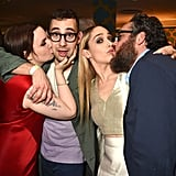 Lena Dunham kissed boyfriend Jack Antonoff while Jemima Kirke puckered up for her husband, Mike Mosberg, at the HBO bash.