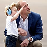 In 2016, William watched an airplane fly by with George, because it's the little moments that count.
