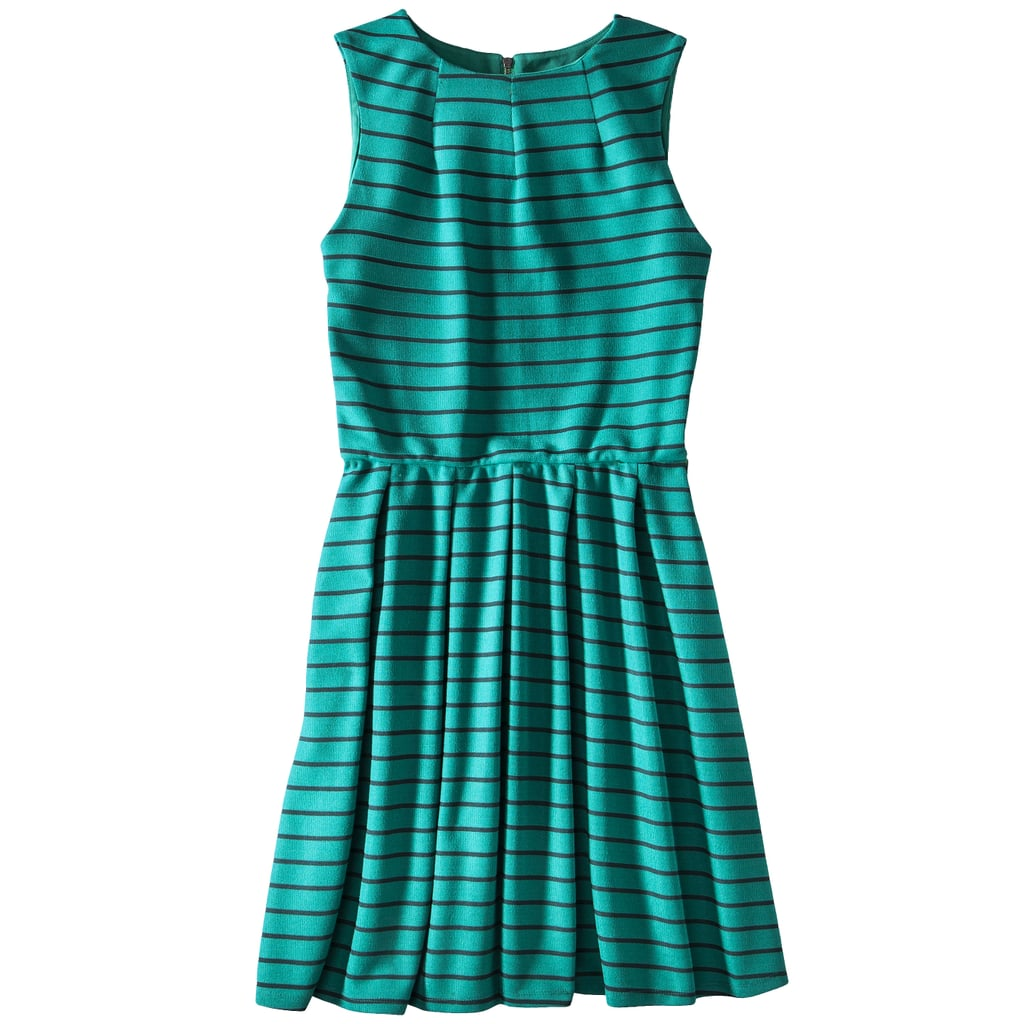 Low-priced finds can still have the details you live in more expensive pieces. For instance, the high neckline and darts on this Mossimo frock ($28) speak of a pricier look.