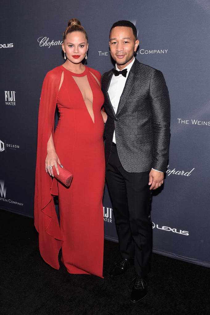 Chrissy selected a Michael Kors cutout gown for a pre-Oscars party with John Legend. She completed the look with Bavna earrings; Le Vian, Graziela Gems, and Effy Jewelry rings; and a Rodo clutch.