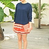 Michelle Williams wore Louis Vuitton to the company's beach barbecue party at the Raleigh Hotel on Thursday.