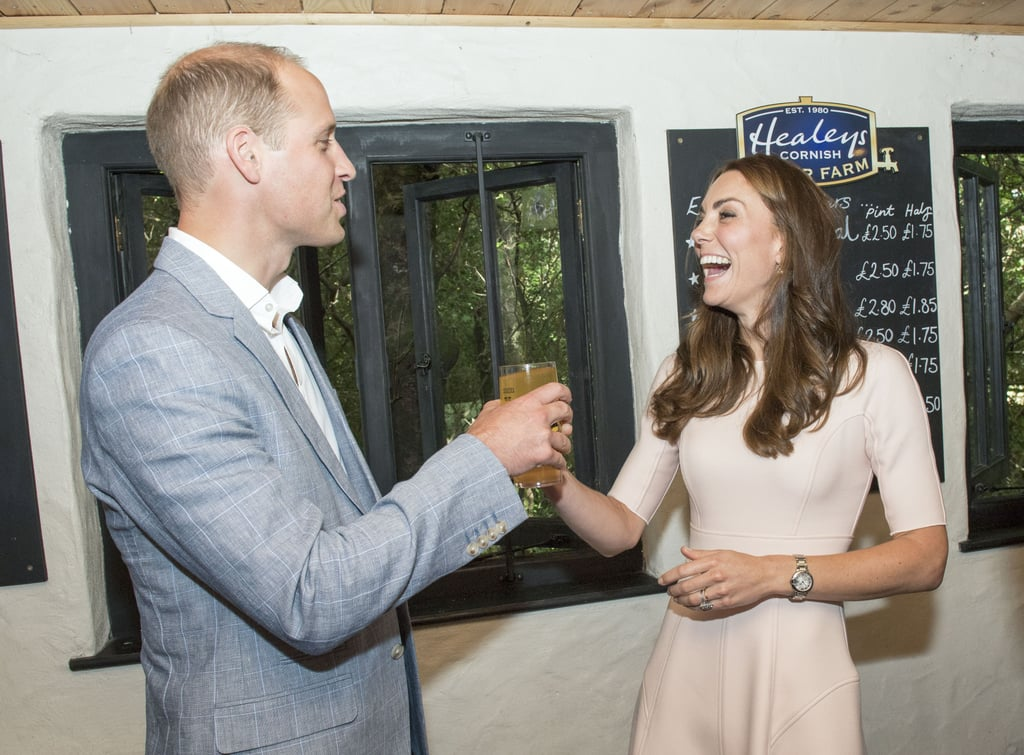 Kate and Will toasted with a drink when they visited Healey's Cornish Cider Farm in September.