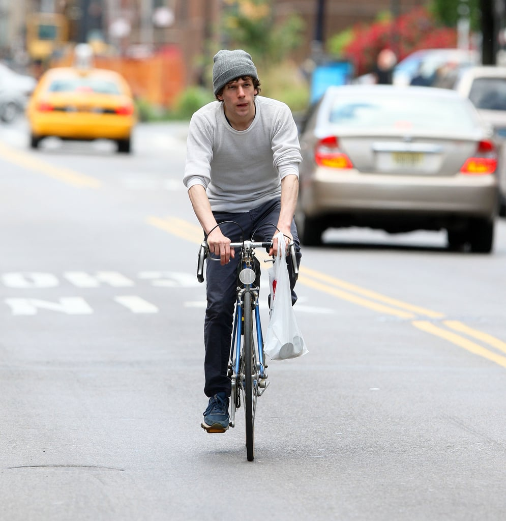 Jesse Eisenberg rode through NYC in May.