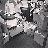 This is Alison's desk after a day of Beauty Awards deliveries. Snowed under? You could say that.