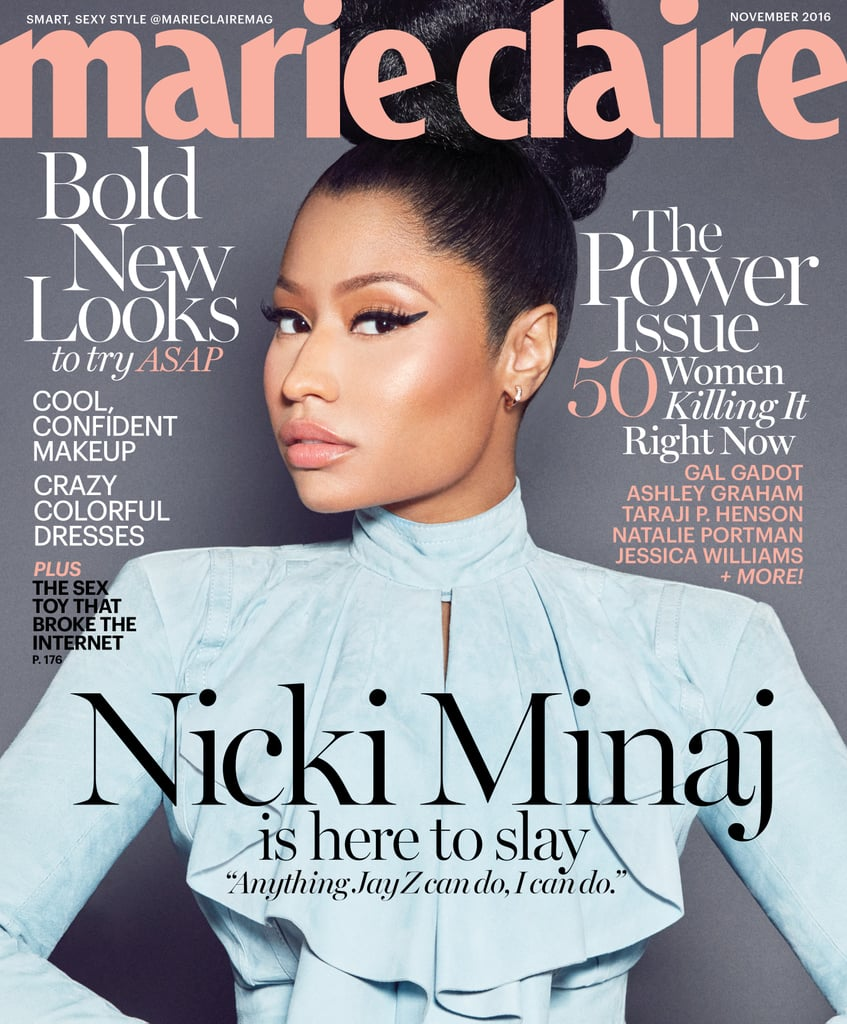 Nicki Minaj graces the cover of Marie Claire's October issue, and the accompanying interview is just as enticing as the gorgeous photo spread. Wearing nothing but lingerie and a fur coat, the rapper discussed how she draws inspiration from Jay Z in a male-dominated rap industry and referenced Kim Kardashian's nude selfies when addressing society's double standard between white and black women. Check out the interview's highlights below!